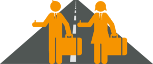 two people hitchhiking