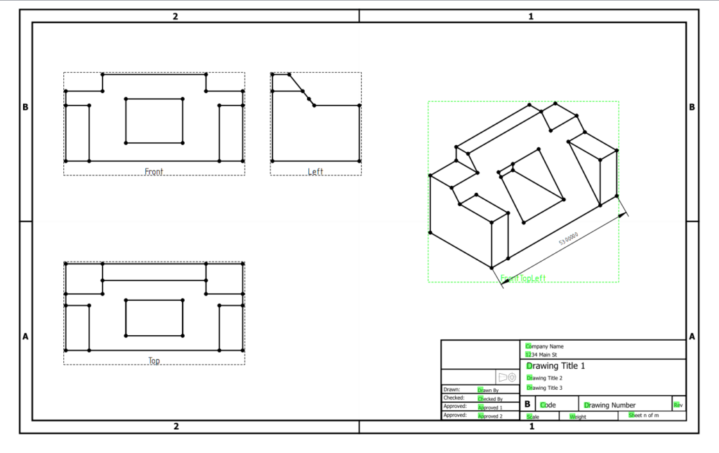 FreeCAD technical drawing from tutorial